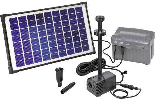 Fontána do jezírka s výkonným solárním panelem a baterií