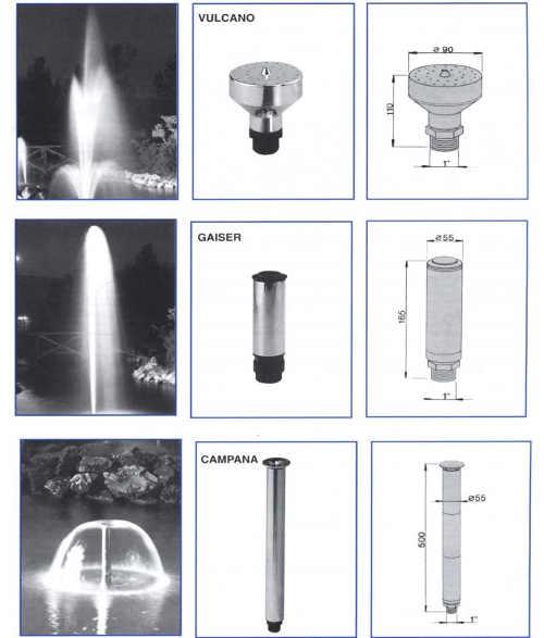 Profesionální nástavce pro vodní fontány